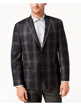 Men's Classic Fit Green Plaid Sport Coat by Michael Kors