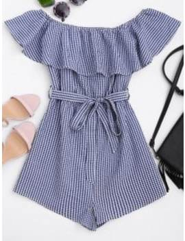 Ruffles Belted Off Shoulder Romper   Checked S by Zaful