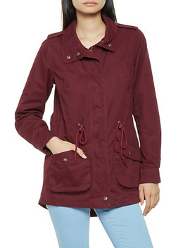 Zip Front Twill Anorak Jacket by Rainbow