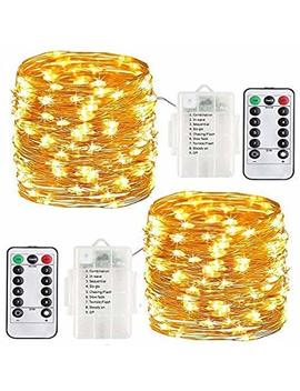 Copper Wire Fairy Lights String Battery Operated Waterproof 100 Led 33ft Led Outdoor Timer Battery Fairy Lights With Remote Timer Twinkle String Lights Halloween Christmas Decor Lights (Warm White) by Ailuze