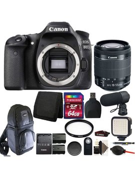 Canon Eos 80 D 24.2 Mp Dslr Camera + 18 55mm + Two Batteries + Advanced Video Kit by Canon International