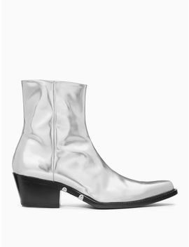 Western Ankle Boot In Metallic Leather by Calvin Klein