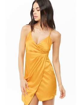 Satin Faux Wrap Dress by Forever 21