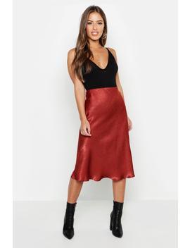 Petite Satin Midi Skirt by Boohoo