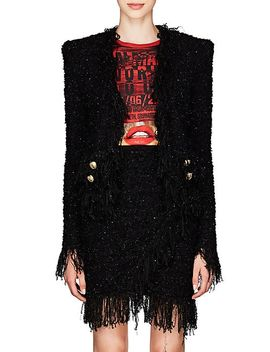 Fringed Tweed Collarless Jacket by Balmain