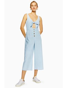 Tie Horn Button Denim Jumpsuit by Topshop