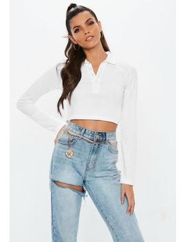 White Button Front Polo Crop Top by Missguided
