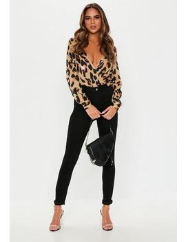 Brown Satin Animal Bodysuit by Missguided