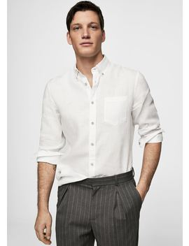 100 Percents Linen Slim Fit Shirt by Mango