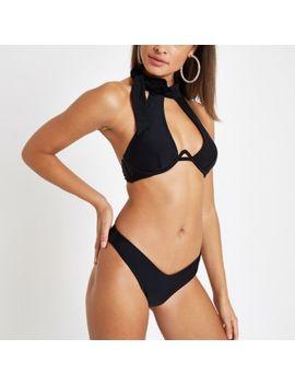 Black Halter Neck Bikini Top by River Island