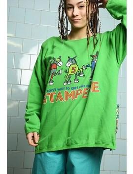 Vintage 80s Logo Novelty Sweatshirt Jumper Pullover Green by Vintaholic