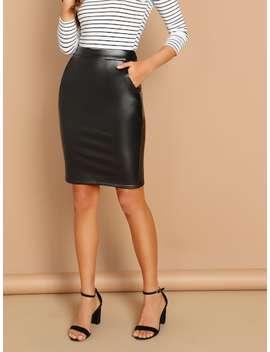 Zip Back Split Skirt by Shein