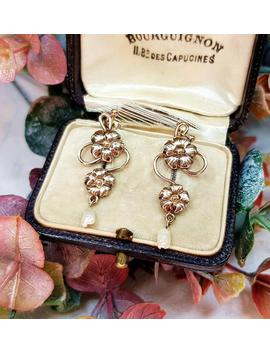 Vintage 9ct Yellow Gold Art Nouveau Style Winding Flower And Pearl Stud Drop Earrings by Etsy