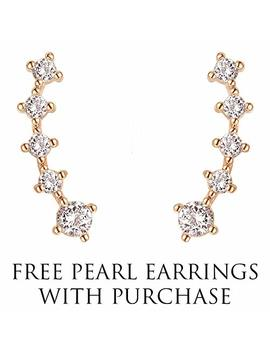 Free Pearl Earrings With 14 K Gold Plated Sterling Silver Post Crawler Earring Cuff Climber Earrings by Pavoi