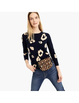 Long Sleeve Everyday Cashmere Crewneck Sweater In Navy Leopard by J.Crew