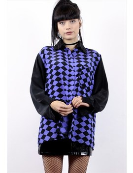 Black And Purple Checked Rhombus Blouse by Velvet Raven Vintage