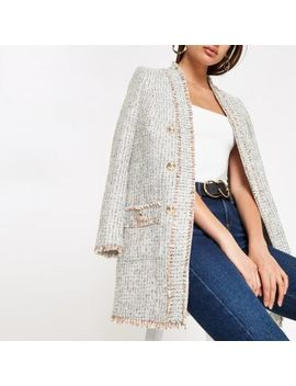 Cream Check Boucle Long Blazer by River Island