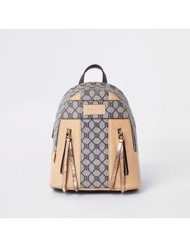 Beige Ri Monogram Mini Backpack by River Island