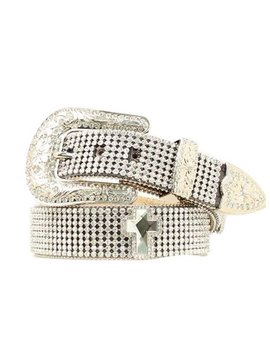 Nocona Western Belt Womens Mesh Crystals Bling Silver Black N3424801 by Nocona