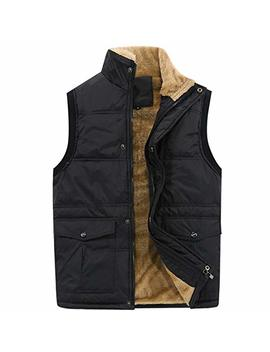 Flygo Men's Winter Warm Outdoor Padded Puffer Vest Thick Fleece Lined Sleeveless Jacket by Flygo