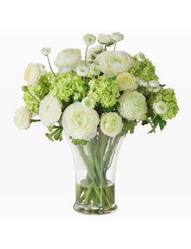 Faux Ranunculus In Large Vase – White + Green by West Elm