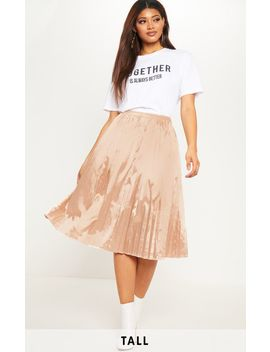 Tall Champagne Satin Pleated Midi Skirt  by Prettylittlething