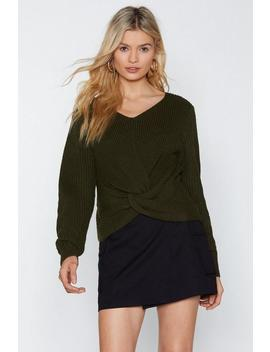 Twist Front V Neck Jumper by Nasty Gal