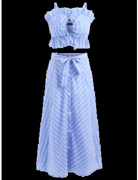 Striped Cami Belted Skirt Set   Light Sky Blue S by Zaful