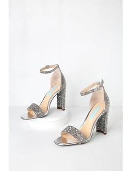 Rina Silver Rhinestone Ankle Strap Heels by Betsey Johnson
