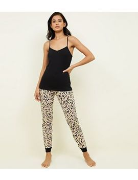 Stone Leopard Print Joggers Pyjama Set by New Look
