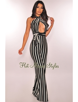 Black White Striped Key Hole Belted Jumpsuit by Hot Miami Style