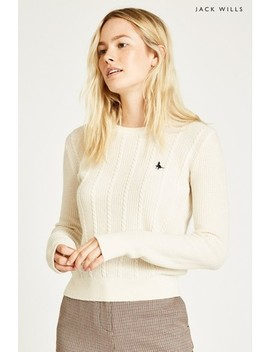 Jack Wills Vintage White Tinsbury Cable Crew by Next