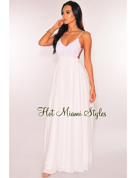White Embroidered Crochet Open Back Maxi Dress by Hot Miami Style