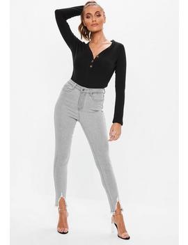 Light Grey Sinner Distressed Hem Skinny Jeans by Missguided