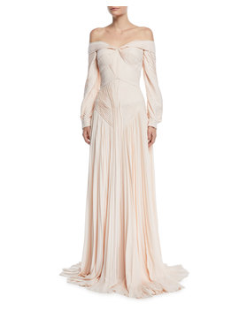Off The Shoulder Pleated Long Sleeve Gown by Neiman Marcus
