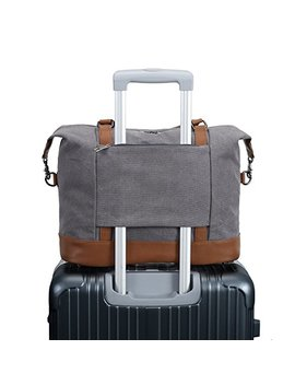 Women Ladies Canvas Weekender Bag Overnight Carry On Tote Duffel In Trolley Handle (Grey) by Bluboon