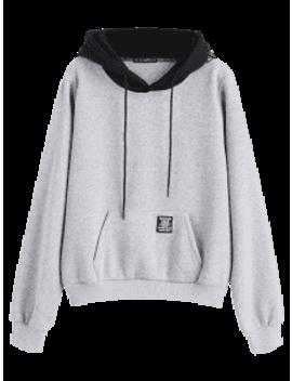 Zaful Pouch Pocket Fleece Pullover Hoodie   Light Gray M by Zaful