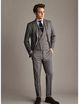 Travel Suit City Slim Fit Check Wool Trousers by Massimo Dutti
