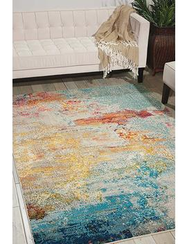"Nourison Celestial Modern Abstract Area Rug, 5'3"" X 7'3"", Multicolor Grey by Nourison"