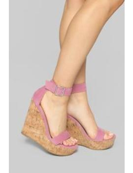 Just A Distraction Wedges   Pink by Fashion Nova