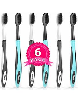 Best Deal Charcoal Toothbrush Ultra Soft (6 Pack)   Gentle, Slim Head, Medium Tip   Remove Plaque, Whiten Teeth  Works Well... by Nuva Dent