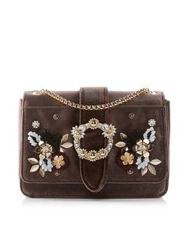 Dune   Grey 'devi' Flower Applique Chain Strap Handbag by Dune