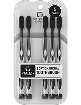 5 Pack Charcoal Toothbrush [Gentle Soft] Slim Teeth Head Whitening Brush For Adults & Children [Family Pack]   Ultra Soft Medium Tip... by Dental Expert