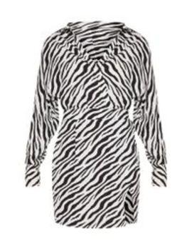 Black Zebra Print Plunge Front Bodycon Dress by Prettylittlething