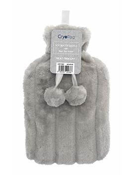 Cryopaq Luxury Hot Water Bottle With Best Plush Faux Fur Cover 2 L 2 Litre Liter (Light Grey) by Cryopaq