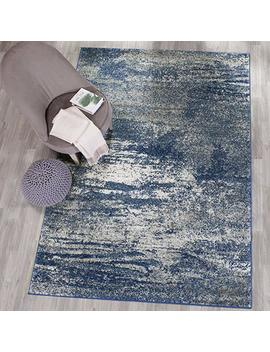 "Safavieh Evoke Collection Evk272 A Distressed Modern Abstract Navy And Ivory Area Rug (5'1"" X 7'6"") by Safavieh"
