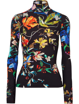 Floral Print Stretch Jersey Turtleneck Top by Mugler
