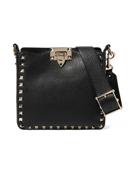 Valentino Garavani The Rockstud Hobo Mini Textured Leather Shoulder Bag by Valentino
