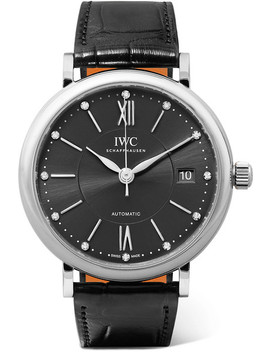Portofino Automatic 37mm Stainless Steel, Alligator And Diamond Watch by Iwc Schaffhausen