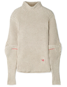 Embroidered Ribbed Wool Turtleneck Sweater by Victoria Beckham